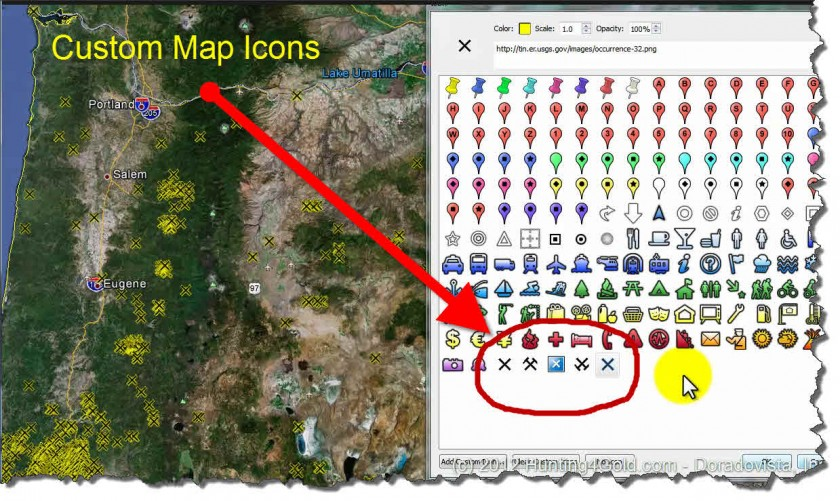 Gold In Oregon Map.Oregon Gold Map Custom Icons Tear